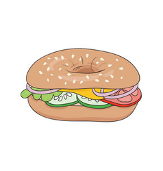 fresh bagel sandwich with cheese and vegetables vector image