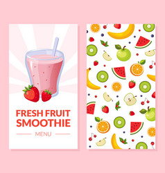 Fresh fruit smoothie menu card template with ripe vector