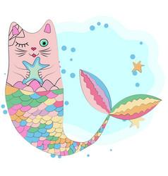 fun magic cat unicorn and mermaid vector image