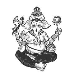 Ganesha indian god engraving vector