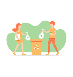 Girl and guy throws out trash vector