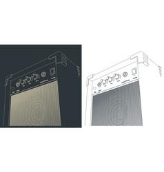 Guitar combo amplifier sketches vector