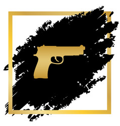 gun sign golden icon at vector image