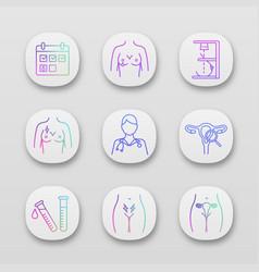 Gynecology app icons set vector