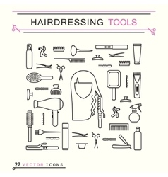 Hairdressing tools - icons vector