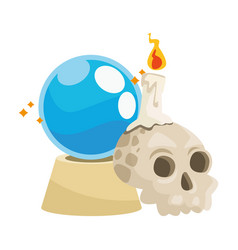 Halloween head skull with crystal ball and candle vector