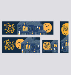 halloween trick or treat web banners with spooky h vector image