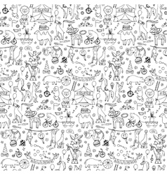 Hand drawn circus seamless pattern vector