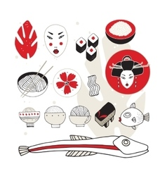 Hand drawn Japan and Asia design elements vector image