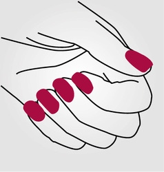 Hands of a lady with painted nails vector image