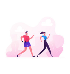 Happy couple man and woman in sports wear running vector