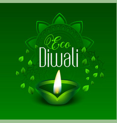 Happy green eco diwali leaves background vector
