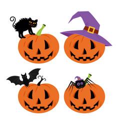 Happy halloween day bat and spider cute pumpkin vector