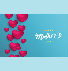 happy mothers day love card of pink hearts vector image