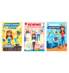 home cleaning housewife laundry sewing service vector image