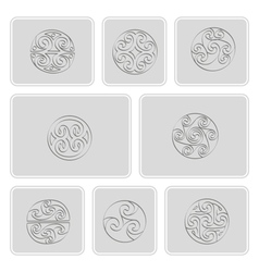 icons with irish geometric ornament vector image