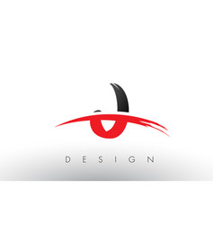J brush logo letters with red and black swoosh vector