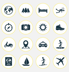 Journey icons set with skier sail compass and vector