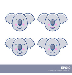 kawaii nice pastel kid cartoon koala faces set vector image