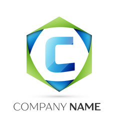 letter c symbol in the colorful hexagonal vector image