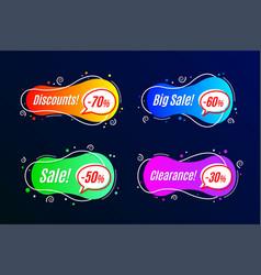 Linear promotion banner shape templates sticker vector