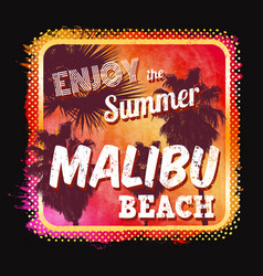 malibu beach graphic for t shirt or poster vector image