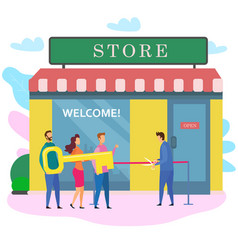 Man woman with key male owner cut red ribbon store vector