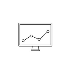 Market monitoring line icon computer analysis vector