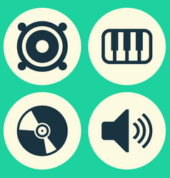 music icons set collection of cd octave sound vector image