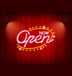 Neon open sign on curtain vector