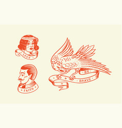old school tattoo hipster man and woman and eagle vector image