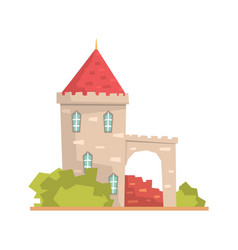 Old stone house tower ancient architecture vector