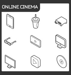 online cinema outline isometric icons vector image