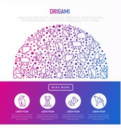 Origami concept in half circle vector