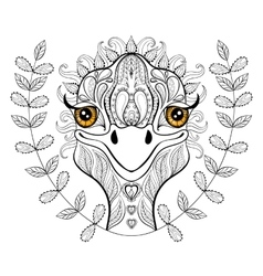 ostrich for adult coloring page Hand drawn vector image