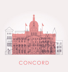 outline concord skyline with landmarks vector image