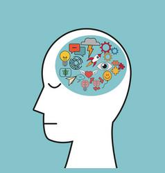 profile human head creativity idea vector image