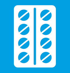 Round pills in a blister pack icon white vector