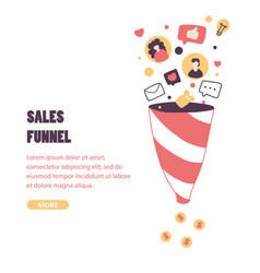 sales funnel flat landing page template vector image