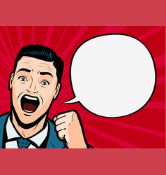 screaming man or businessman retro comic pop art vector image