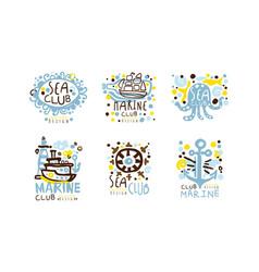 sea club label original design with anchor vector image