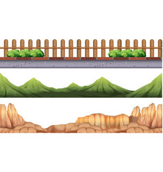 Seamless background with moutains and fence vector