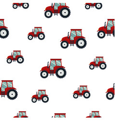seamless pattern red tractor on white background vector image