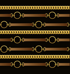 seamless vintage pattern with chains and belts vector image