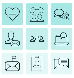 Set of 9 communication icons includes online vector