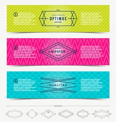 Set of abstract banner template design with line vector