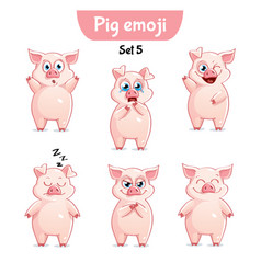 Set of cute pig characters set 5 vector