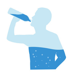 Silhouette of man drinking water from bottle flow vector