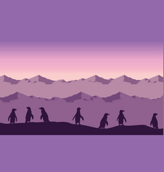 silhouette of penguin lined on hill landscape vector image