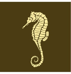 silhouette of seahorse hippocampus vector image